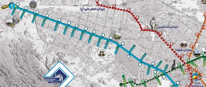 مسیر حرم تا پارک وکیل آباد با مترو مشهد